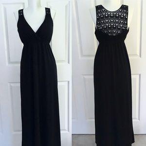 Faded Glory • Black Crochet Back Maxi Dress